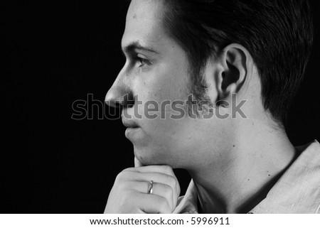 black portrait face nose profile human man - stock photo