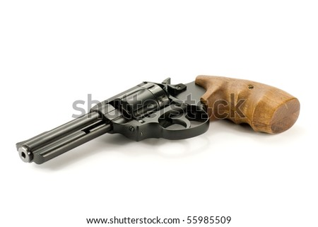 black revolver gun isolated on  white background - stock photo