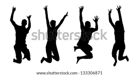 4 black silhouettes of jumping people, both men and women - stock photo