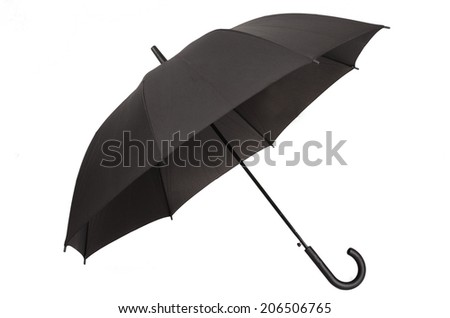 black umbrella isolated on white background  - stock photo