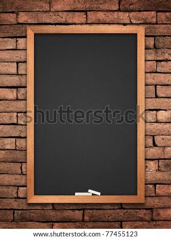 blackboard on wall Brick mortar background - stock photo