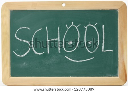 Blackboard with fun School message written with chalk