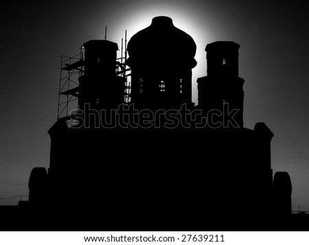 blackly white silhouette of church