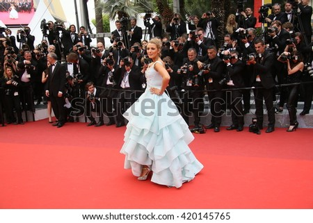 Blake Lively attends the 'Slack Bay (Ma Loute)' premiere during the 69th annual Cannes Film Festival at the Palais des Festivals on May 13, 2016 in Cannes, France.  - stock photo