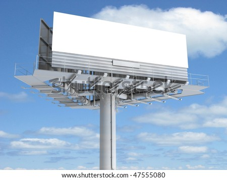 Blank big billboard over blue sky, put your own text here - stock photo