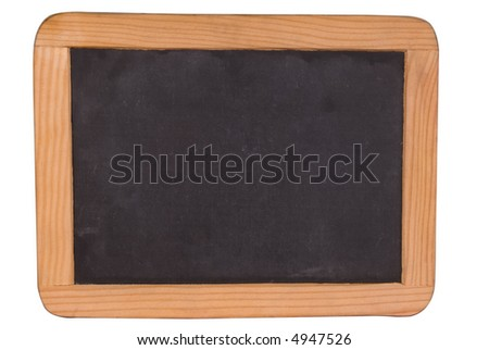 Blank black chalk board with wood frame isolated over white with a clipping path - stock photo