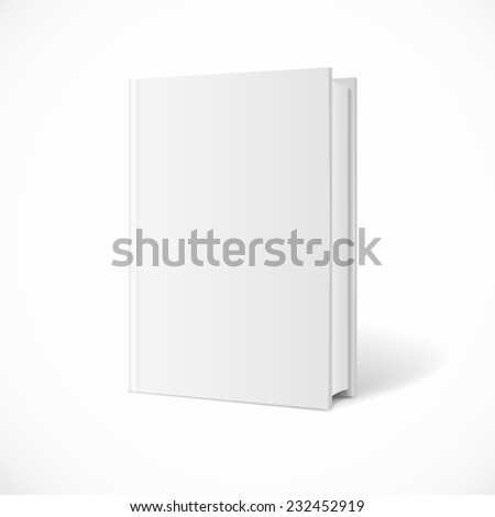 blank book cover perspective. Vertical Template. White Background.