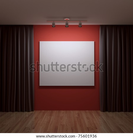 blank canvas on the red wall - stock photo