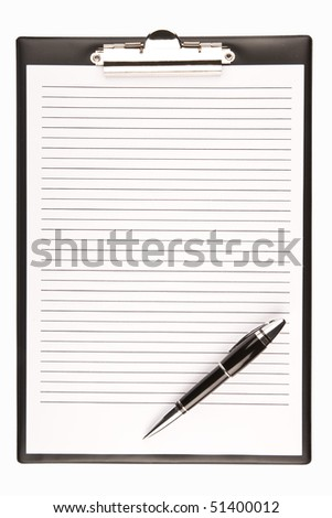 blank clipboard with a pen isolat - stock photo