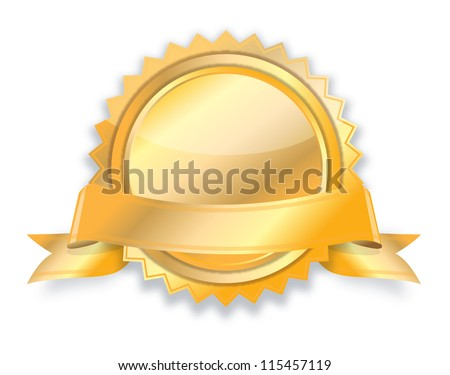 Blank golden award medal with ribbon - stock photo