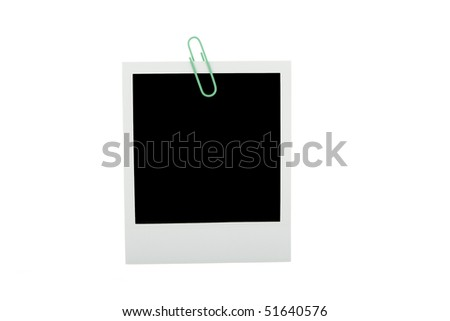 Blank instant photo with paper clip  isolated on a white - stock photo
