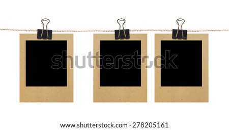 3 Blank Old Photos On Rope, Isolated On White Background