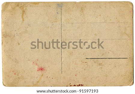 Blank Old Postcard Isolated on White Background