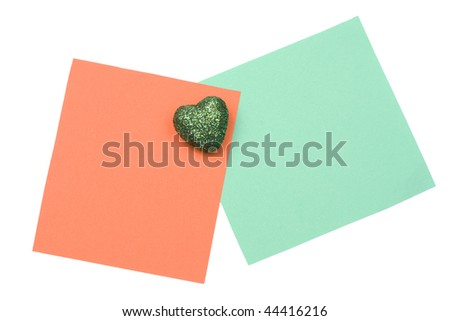 blank orange and green  note with magnet - stock photo