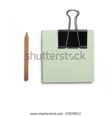 Blank paper with clip isolated over white background - stock photo