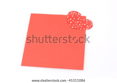 blank red note with heart magnet - stock photo