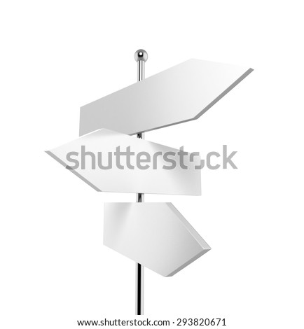 3 blank road signs pointing in different directions - stock photo