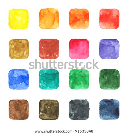 16 blank watercolor colored rounded square shapes web buttons on white background - stock photo