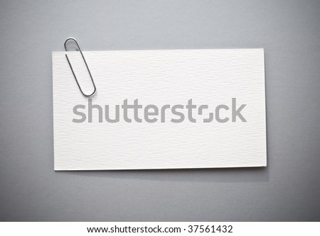 Blank white cards with paperclip - stock photo