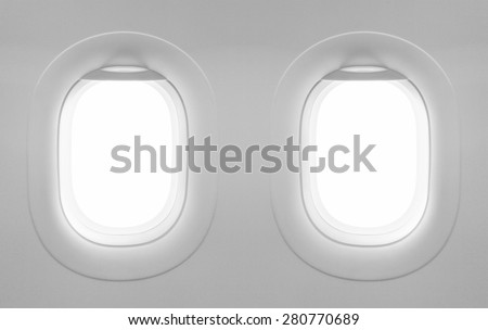 2 blank window plane - stock photo