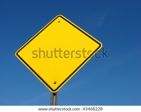 Blank, yellow, diamond shaped yield sign - stock photo