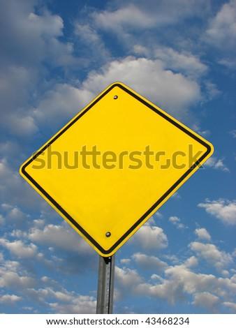 Blank, yellow, diamond shaped yield sign - stock photo