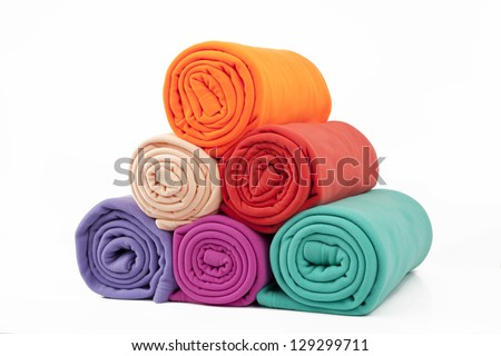 blankets in many colours - stock photo