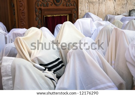 Blessing Cohen in the Passover at the Western Wall in Jerusalem. - stock photo