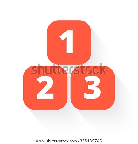 123 blocks in orange with drop shadow on white - stock photo