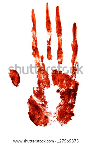 Bloody hand print isolated on white background - stock photo