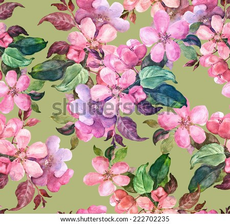 Blooming branch of apple seamless pattern. Watercolor illustration.. - stock photo