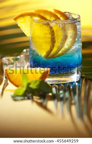 Blue Alcoholic cocktail .  Blue Lagoon - stock photo