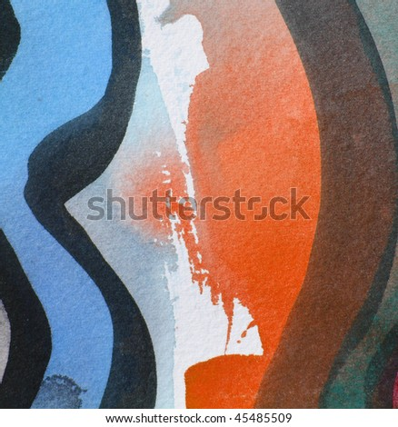 blue and orange      abstract watercolor background - stock photo