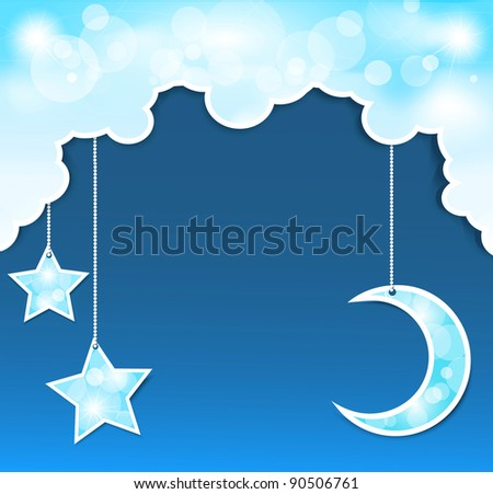 blue background with clouds, the new moon and the stars (JPEG version) - stock photo