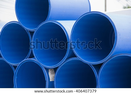 Blue barrels on a chemical plant - stock photo
