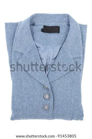 blue blazer neatly folded isolated on white background - stock photo