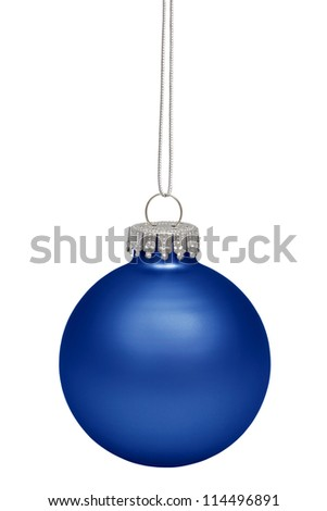 Blue christmas bauble isolated on white background - stock photo