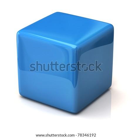 Blue cube isolated on white background - stock photo