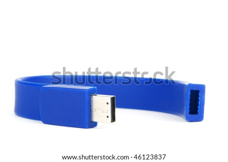 blue flash drive on a white - stock photo