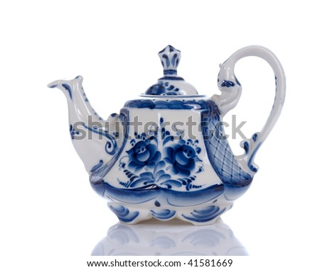 blue floral pattern tea pot on white background