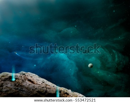 Blue green space with stone. Elements furnished by NASA