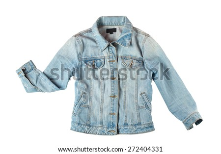 blue jeans jacket for women isolated on white background  - stock photo
