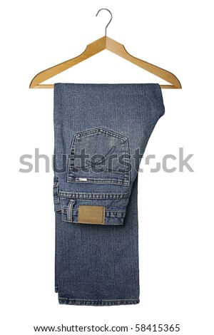 blue jeans on a wooden hanger, isolated on white background - stock photo
