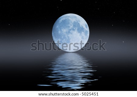 blue moon with stars and haze reflections from wavy water