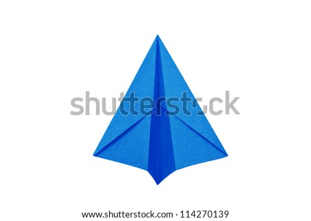 ?Blue Paper aircraft, Paper Plane on a white background, - stock photo