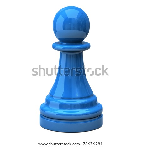 Blue pawn - stock photo