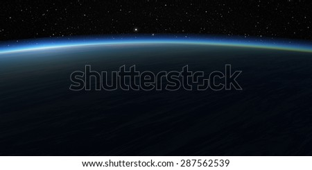 Blue planet and stars. Space background.