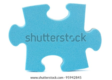 blue puzzle piece over a white background - stock photo