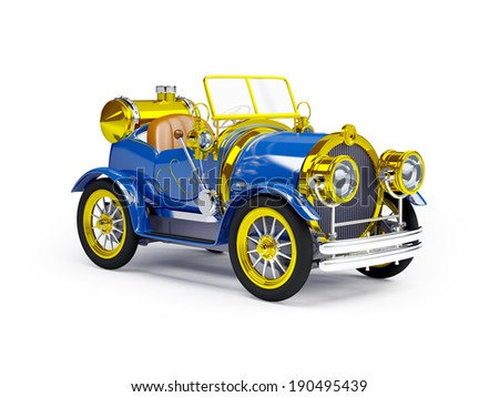 1910 blue retro car on a white background in steampunk style - stock photo