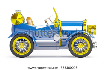 1910 blue retro car on a white background in steampunk style side view - stock photo